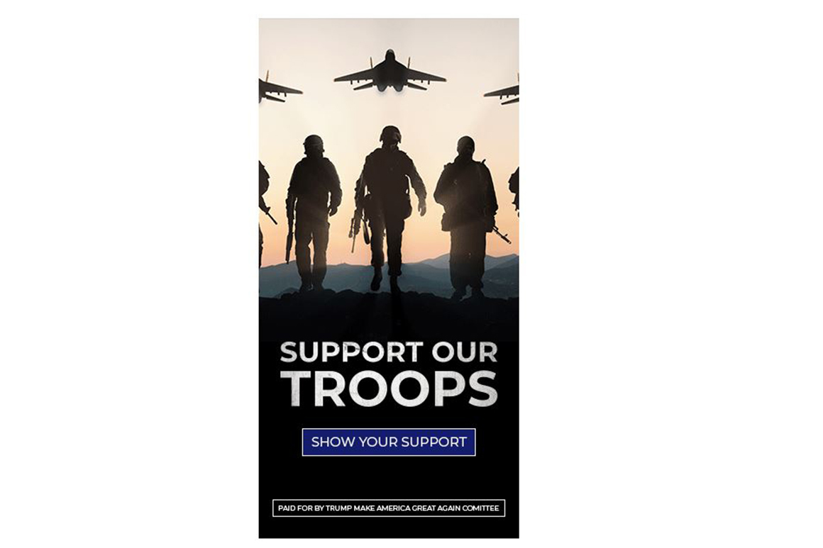 Trump ad asks people to support the troops. But it uses a picture of Russian jets and rifles - POLITICO 1